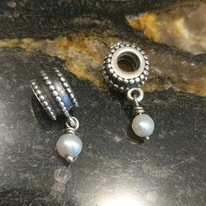 Pandora Silver and pearl charms
